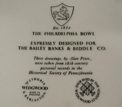 """Wedgwood """"Philadelphia"""" bowl, Bailey, Banks & Biddle - 2"""