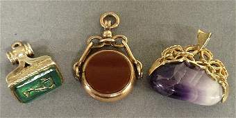 Three Victorian watch fobs 9k gold wcarnelian  blood