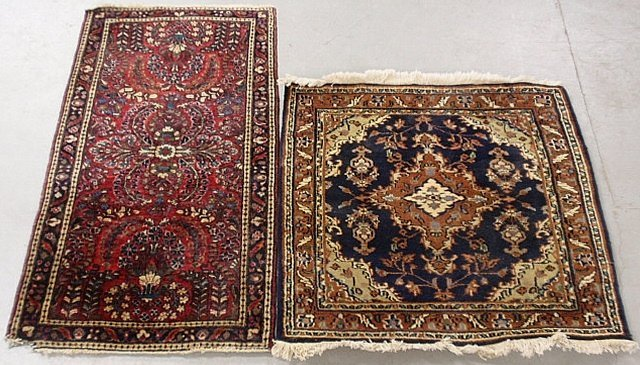 Sarouk oriental mat with a red field and floral