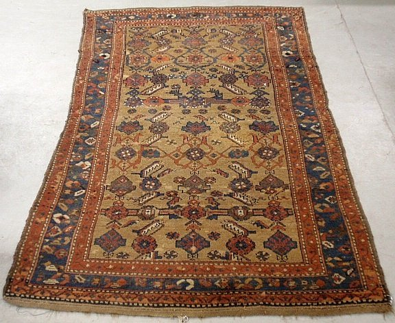 Tribal oriental center hall carpet with geometric