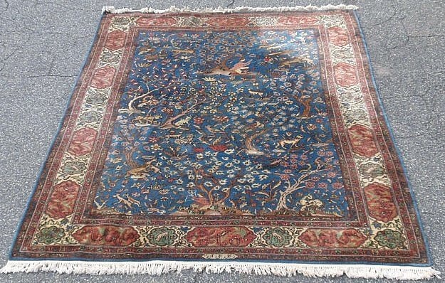Room size Tabriz oriental carpet with blue field and