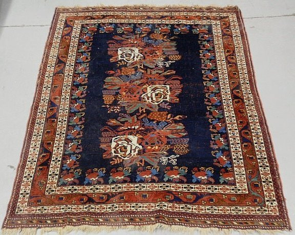 Tribal oriental center hall carpet with blue field and