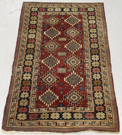 Colorful Shirvan oriental mat with red field and