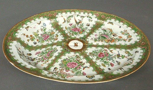 Large oval Chinese porcelain well & tree platter,