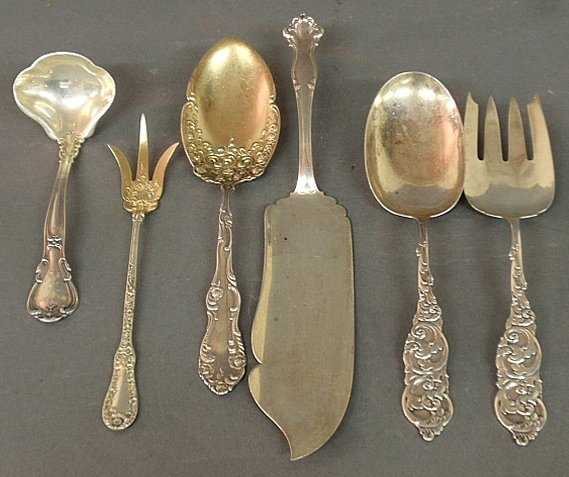 Six sterling silver serving pieces by various makers,
