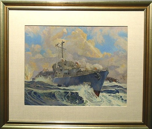 Framed and matted watercolor of a naval destroyer DE99,