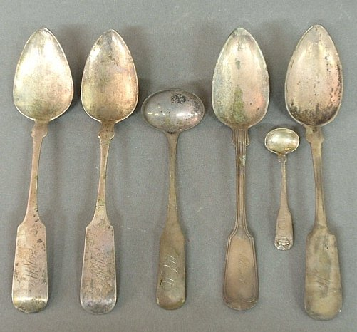 Group of coin silver spoons, various makers, a ladle
