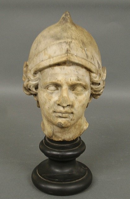 Rare ancient Roman carved marble head of a soldier, and