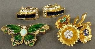 Pair of 14k gold diamond and sapphire earrings 14k
