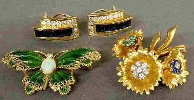Pair of 14k gold, diamond and sapphire earrings, 14k