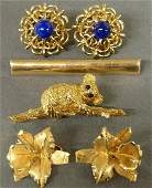 Group of 18k gold jewelry pair gold  lapis earrings