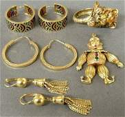 Group of 18k gold jewelry three pairs of earrings