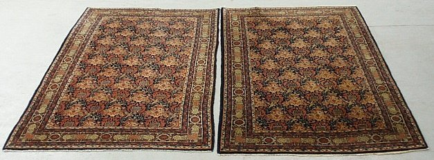 Pair of oriental center hall carpets, each with bird