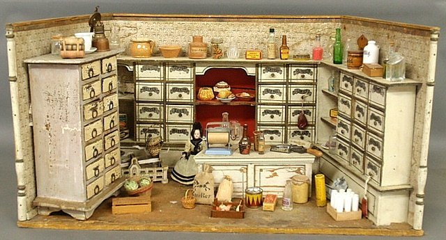 French miniature room-box country store, late 19th c.,