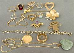 Group of yellow gold jewelry and accessories 18k