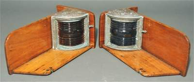 Pair of ship's port & starboard brass and Fresnel glass
