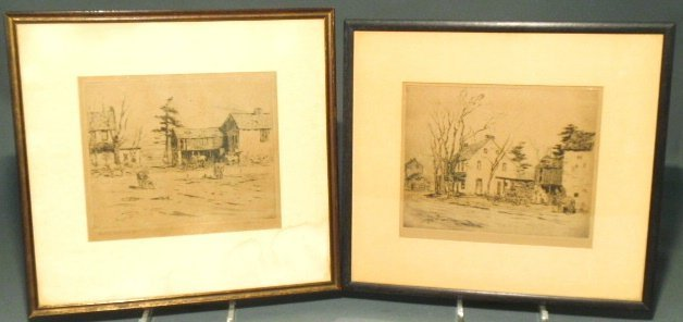 Two Charles Morris Young etchings of the White Horse