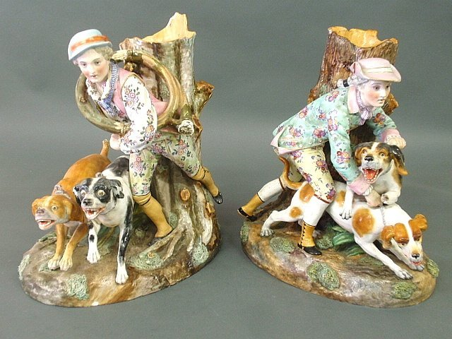 Pair of early Meissen porcelain figural groups with