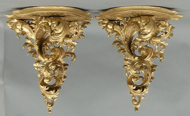 Pair of 19th c. Rococo carved wood and gilt decorated w