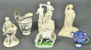 Misc. group of porcelains to incl. a Chelsea sheep