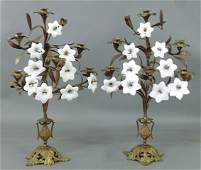 Unusual pair of cast iron and brass six-light candelabr