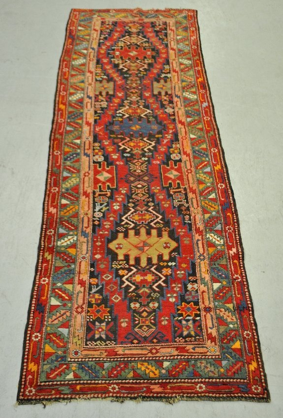 Colorful oriental hall runner with overall geometric