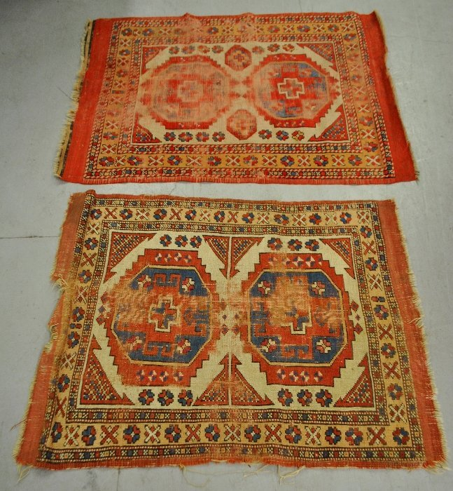 Two small Caucasian throw mats. As found. Largest 4'x