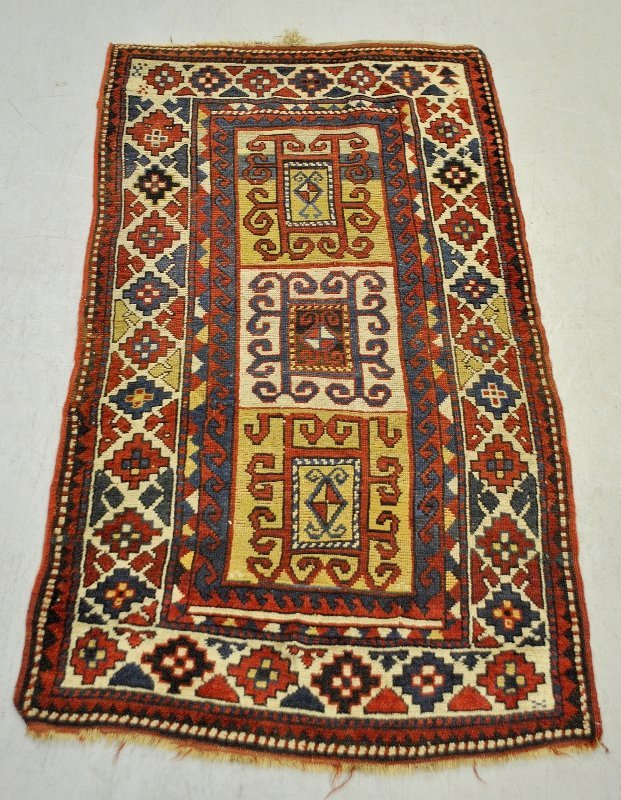 Colorful Kazak oriental runner, 19th c., with three