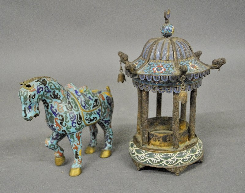 Chinese cloisonné temple incense burner, late 19th c.
