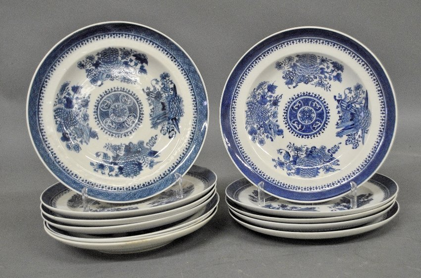 Twelve Chinese blue and white Fitzhugh porcelain