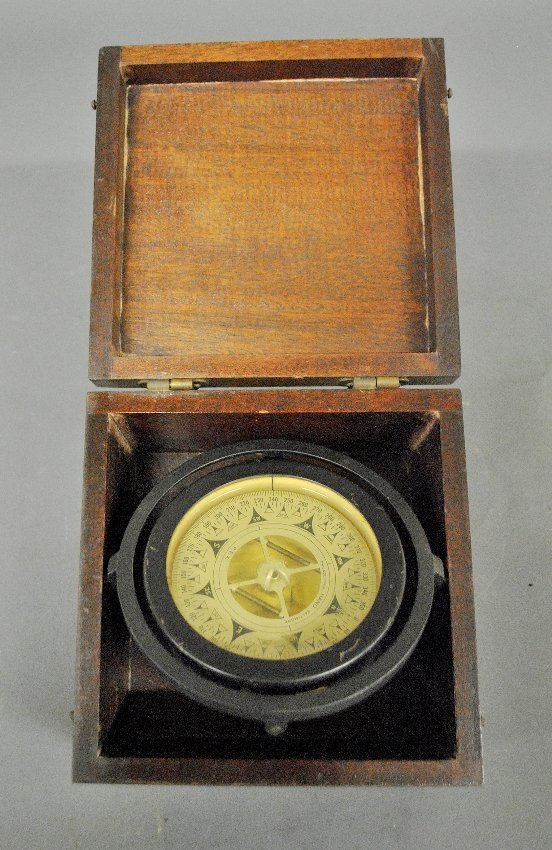 Gimballed ship's compass by John E. Hand & Sons Co.,