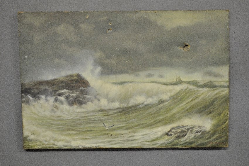 Unframed oil on canvas seascape painting signed l.r.