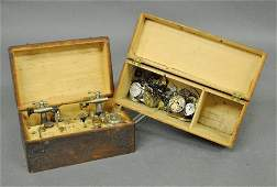 Wood cased watchmakers lathe and tools case 45x95