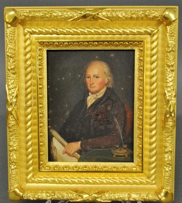 After Charles Wilson Peale oil on copper portrait of Ed