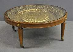 Tommi Parzinger style round coffee table with glass top