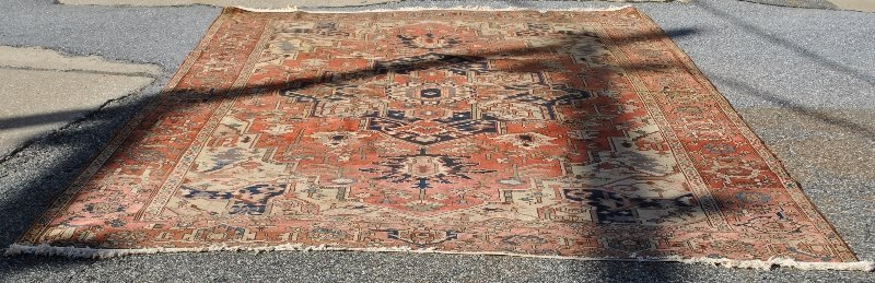 Room size Heriz oriental carpet with red field and
