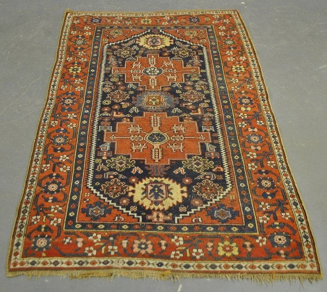 Center hall oriental carpet with two geometric