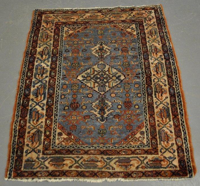 "Hamadan oriental mat with blue field. 4'3""x3'4"""