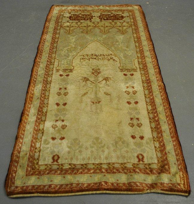 "Double-sided Oushak oriental prayer carpet. 7'1""x3'7"""