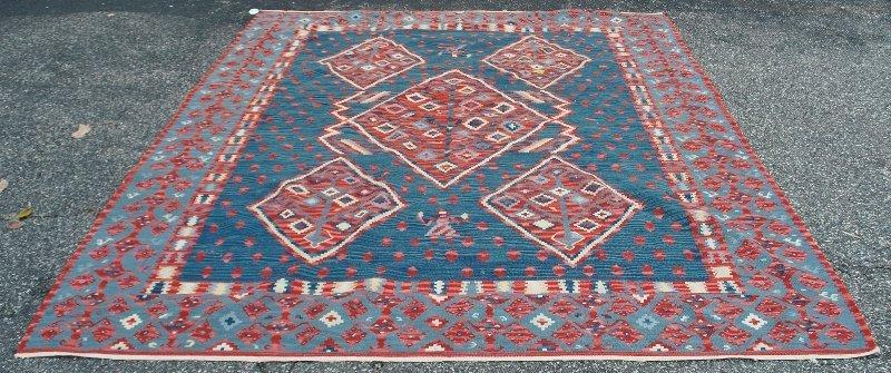 "Colorful flat weave oriental carpet. 8'2""x9'6"""