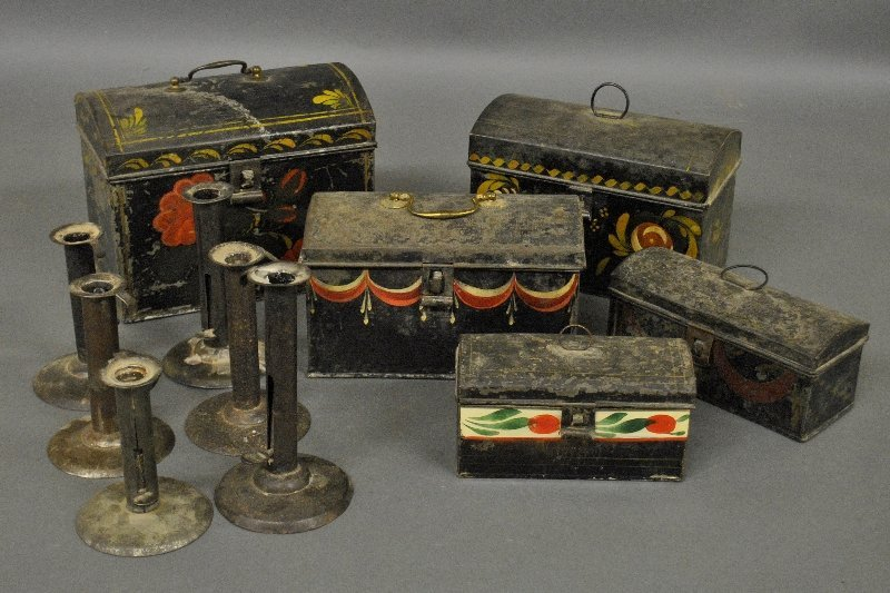 Five toleware trinket and document boxes, 19th c,