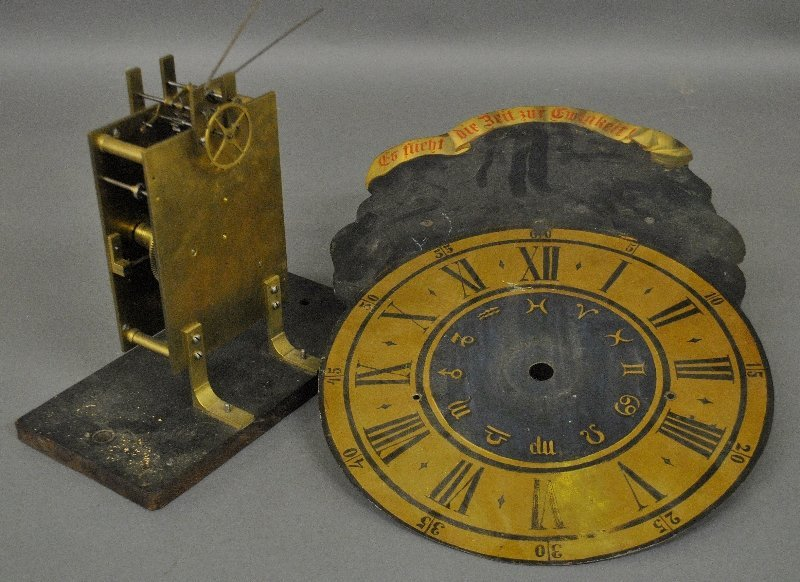 """Brass clock works with a Fusee movement, 5 """"h., the"""