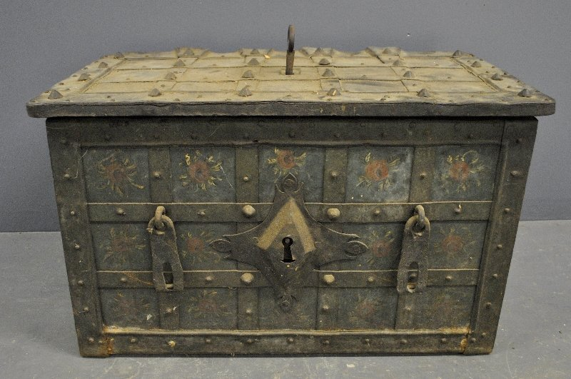 German metal storage box, 17thc c, with intricate