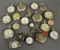 Grouping of approx. eighteen metal cased pocket watches