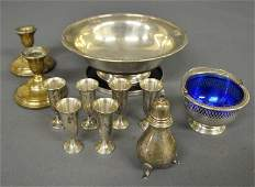 Grouping of sterling silver to include a bowl, a dish