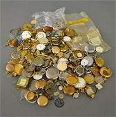 Large grouping of gold-filled pocket watch parts and