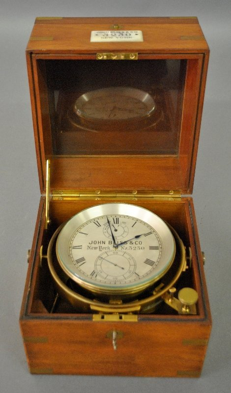 "Chronometer signed ""John Bliss & Company, NY #3230"" in"
