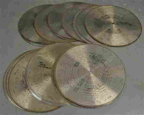 Grouping of thirty large Regina music box discs, all