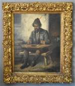 Large oil on canvas painting of a seated musician
