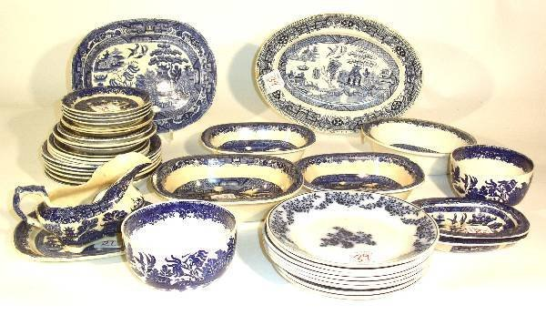 39: Assembled group of Blue Willow china